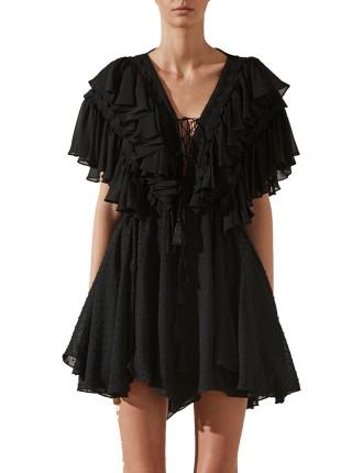 Stella Ruffle Drawstring Mini Dress