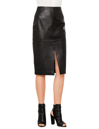 Leather Split Front Skirt