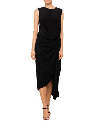 Silk Twist Drape Dress