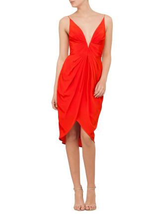 Silk V Tuck Dress