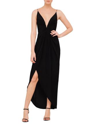 Silk V Tuck Long Dress