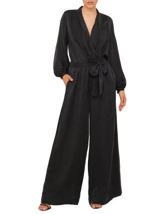 Sueded Silk Wrap Jumpsuit