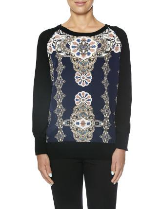 Naomi Silk Panel Knit Jumper