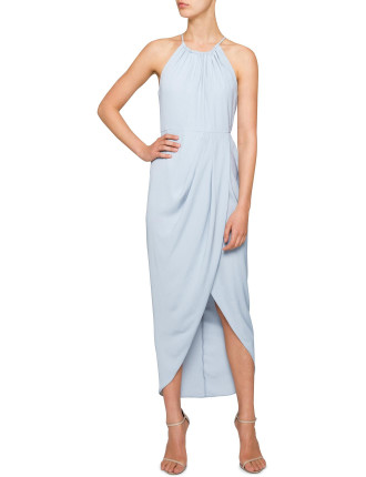 Ruched High Neck Maxi