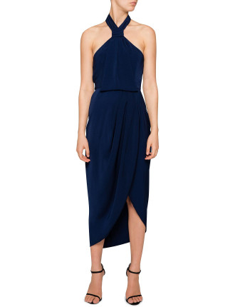 Knot Draped Midi Dress