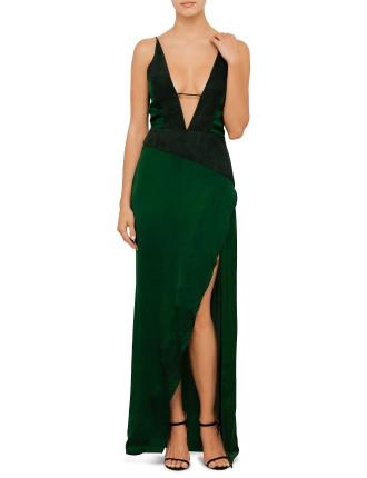 Deep V Neck Cami Split Dress