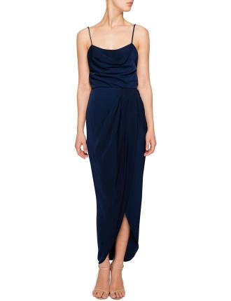 Letecia Lace Up Cowl Maxi Dress