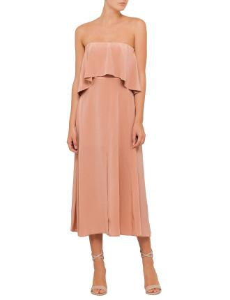 Silk Strapless Flounce Dress