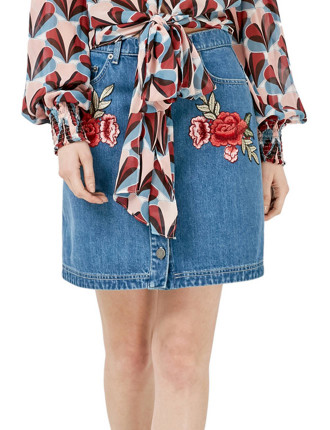 Embroidered Floral Mini Skirt