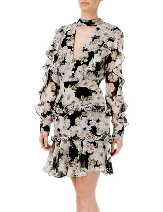 Luna Floral Tie Neck Ruffle Mini Dress