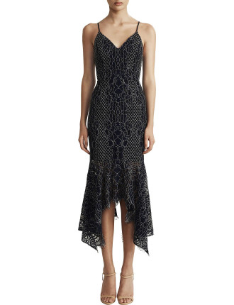 Cocktail Handkerchief Lace Midi Dress