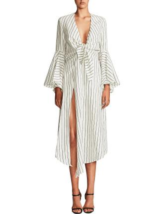 Aquarius Tie Front Midi Dress