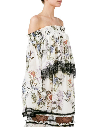 Iris Floral Off Shoulder Top