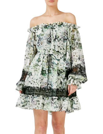 Evergreen Off Shoulder Mini Dress