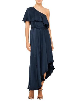 Sueded One Shoulder Long Dress
