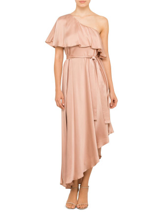 Sueded One Shoulder Long Dress