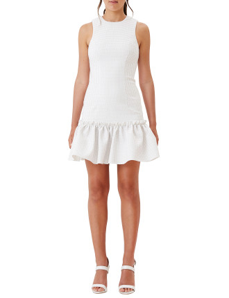 Neutral Grid Gather Mini Dress
