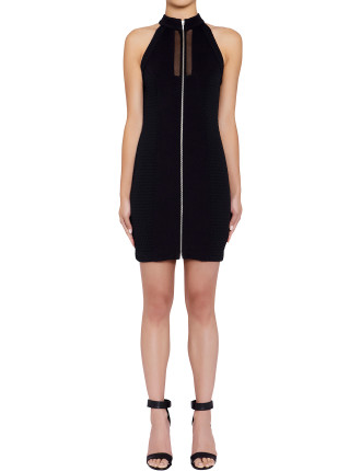 Quilted Zip Front S/L  Dress