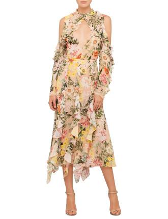 Aveline Cold Shoulder Midi Dress