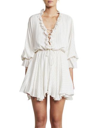 Frill Collar Drawstring Mini Dress
