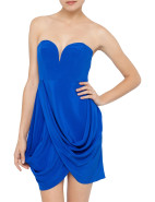 Silk Strapless Drape Dress $295.00