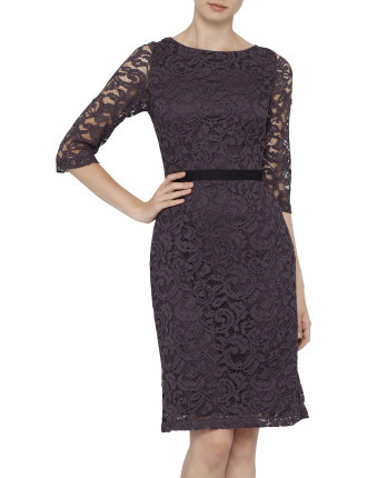Corded Lace Sleeve Tight Dress