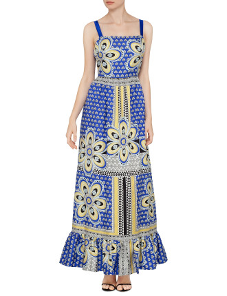 Geometric Daisy Silk Twill Maxi Dress