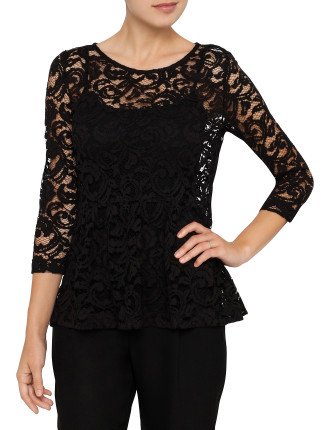 Corded Lace 3/4 Sleeve Peplum Top