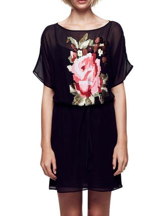 Rose Garden Drape Sleeve Dress