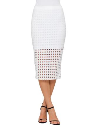 Circular Hole Jacquard Jersey Skirt