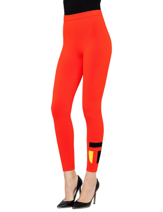 Viscose Nylon Knit Legging with Logo Intarsia