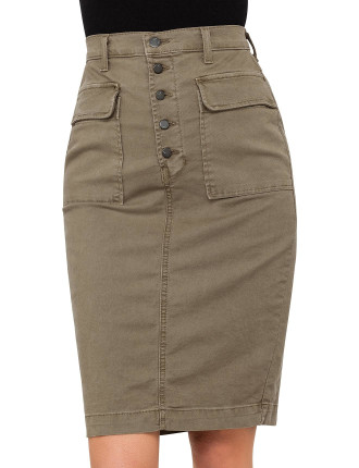 Ani Button Front Utility Skirt