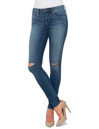 Mya Mid Rise Skinny With Knee Slit