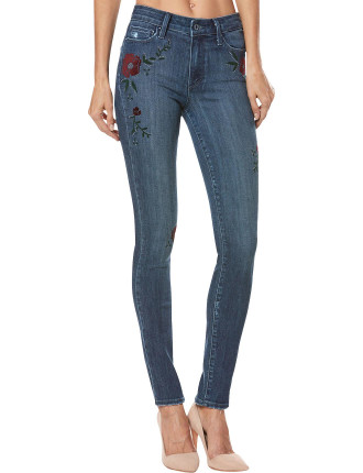 HOXTON HIGH RISE ULTRA SKINNY WITH FLORAL EMB