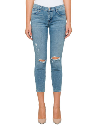 MID RISE SKINNY CROP WITH DESTRUCT KNEE