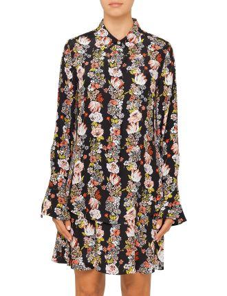 BOTANICAL GARLAND PRINT REVERSE SATIN DAPHNE DRESS