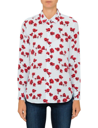 Leema - Scattered Poppies Silk Print