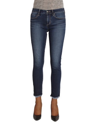 Mid Lisa Skinny Ankle Jean with unfinished hem