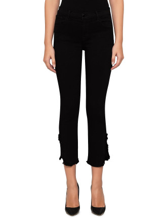 RUBY HIGH RISE CROP STRAIGHT WITH SPLIT ANKLE FRAY DETAIL