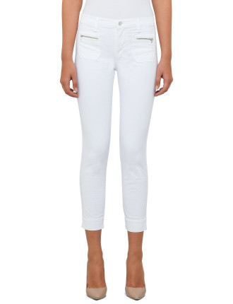 Talon Crop Twill Jean With Zip Front/Back Pockets