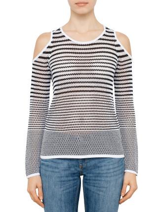 Brenna Stripe Off Shoulder Knit
