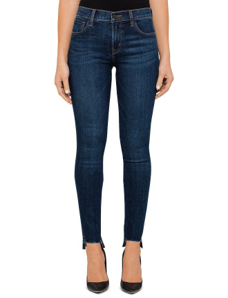 Mid Rise Skinny With Staggered Ankle Detail