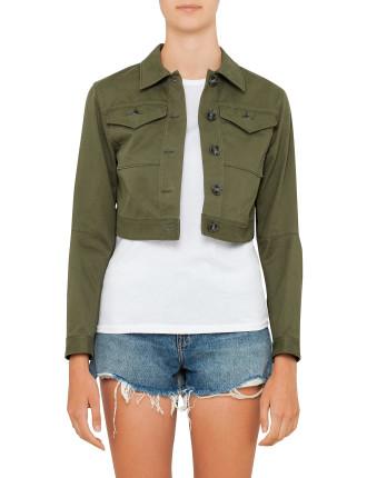 Stretch Cotton Cropped Jean Jacket