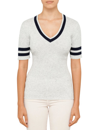 Fitted V Neck Stripe Sweater