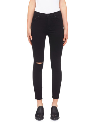 Cult High Rise Skinny Ankle With Distress & Raw Hem