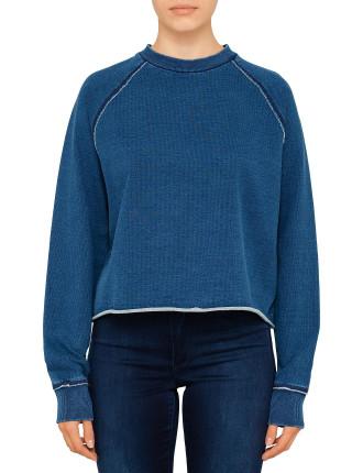 Indigo Raglan Crew Sweatshirt