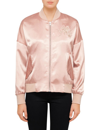 Satin Bomber With Embroidery
