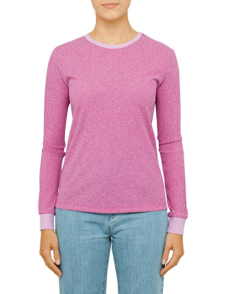 Dusk Knit Ribbed Long Sleeve Knit With Contrast Cuff