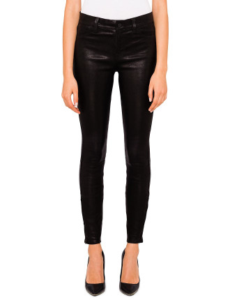 Mid Rise Skinny Stretch Black Leather