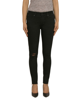 Lisa Mid Rise Skinny Ankle With Destruct & Raw Hem